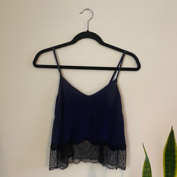 Wilfred Silk Top Navy with Lace XS